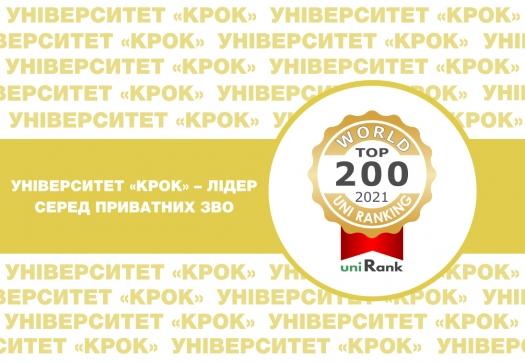 Університет «КРОК» – лідер серед приватних ЗВО (uniRank University Ranking)!